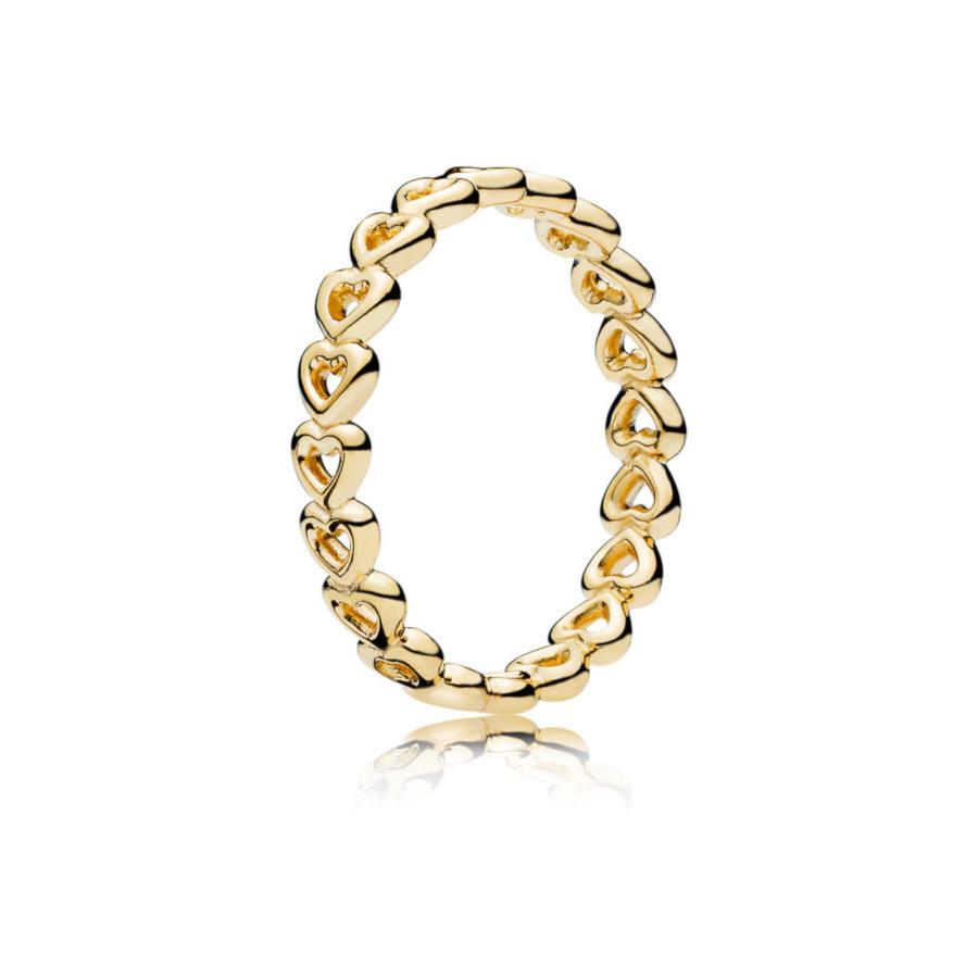 Pandora Stories 925 Sterling Zilveren Goudkleurige Linked Love Ring 167105