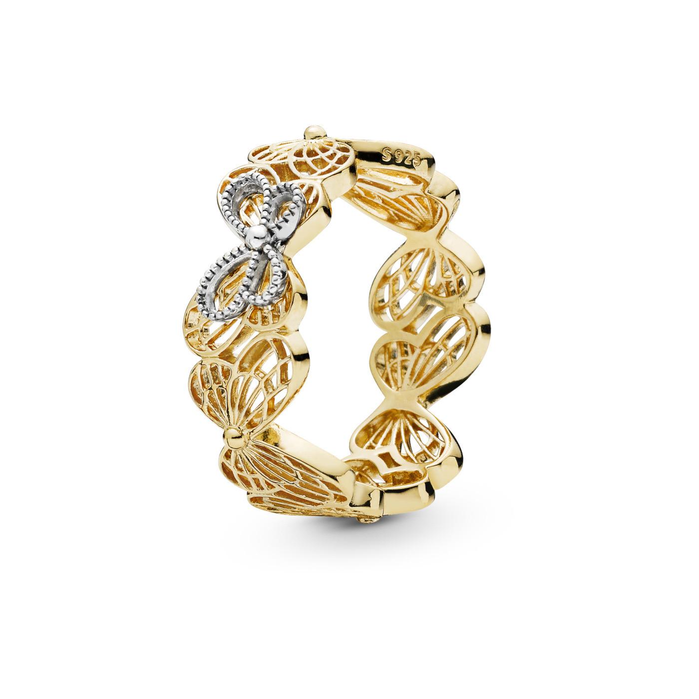 Pandora Stories 925 Sterling Zilveren Goudkleurige Butterfly Shine Ring 167947