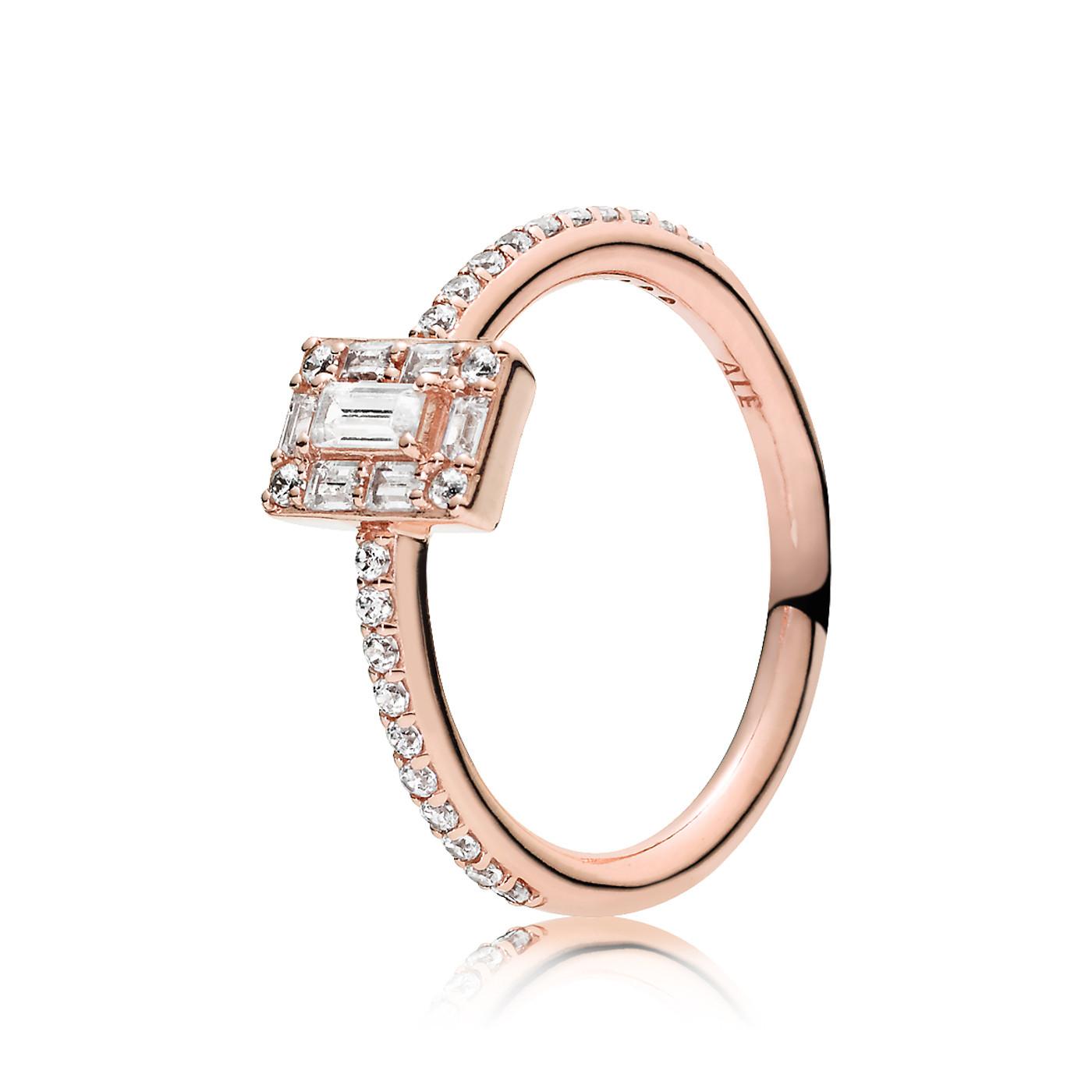 Pandora 925 Sterling Zilveren Ice Cube Roségoudkleurige Ring 187541CZ