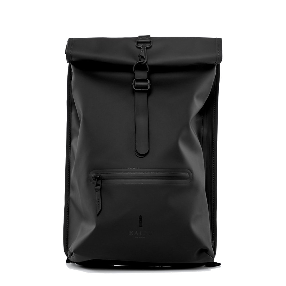 378ed87d49d Rains Roll Top Black Backpack 1316-01 - Bags