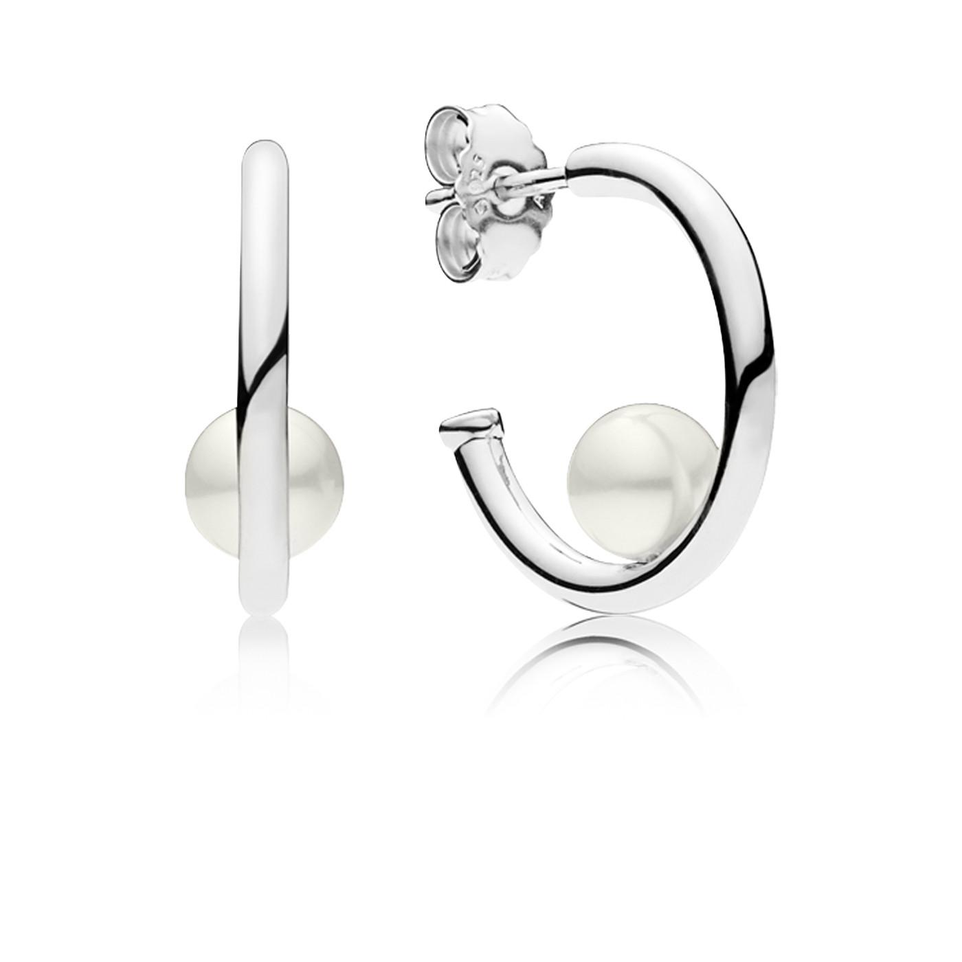 Pandora 925 Sterling Silver Hoop Earrings 297528P
