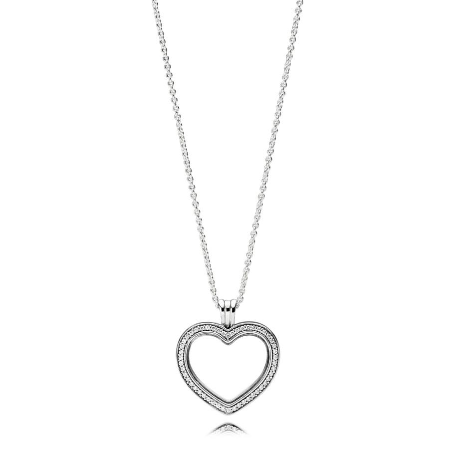 Pandora Stories Zilveren Sparkling Floating Heart Locket Ketting met Hanger 397230CZ-60 (Lengte: 60.00 cm)