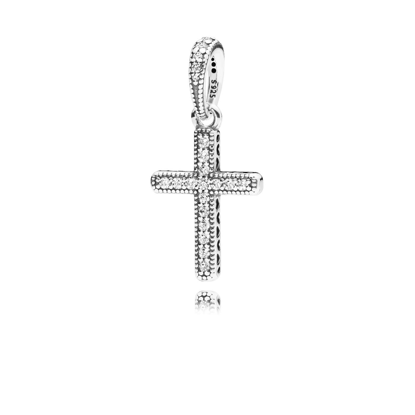Pandora 925 Sterling Silver Cross Silver pendant en Necklace 397571CZ