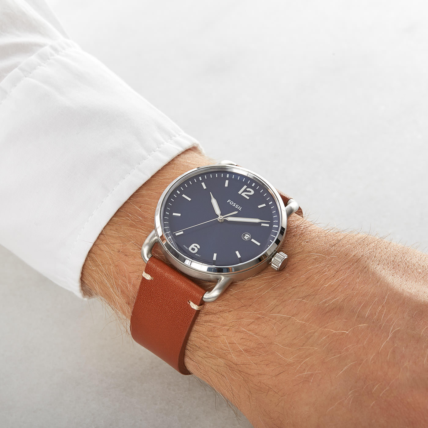 52e01d23be7d Fossil FS5325 The Commuter Three Hand Date Brown Leather Blue Dial Watch  NIB. Fossil The Commuter