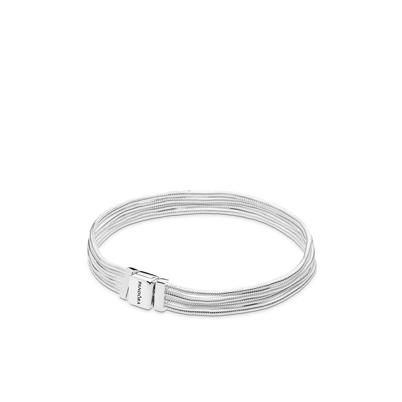 Pandora Reflexions 925 Sterling Zilveren Multi Snake Chain Armband 597943 (Lengte: 16.00-19.00 cm)