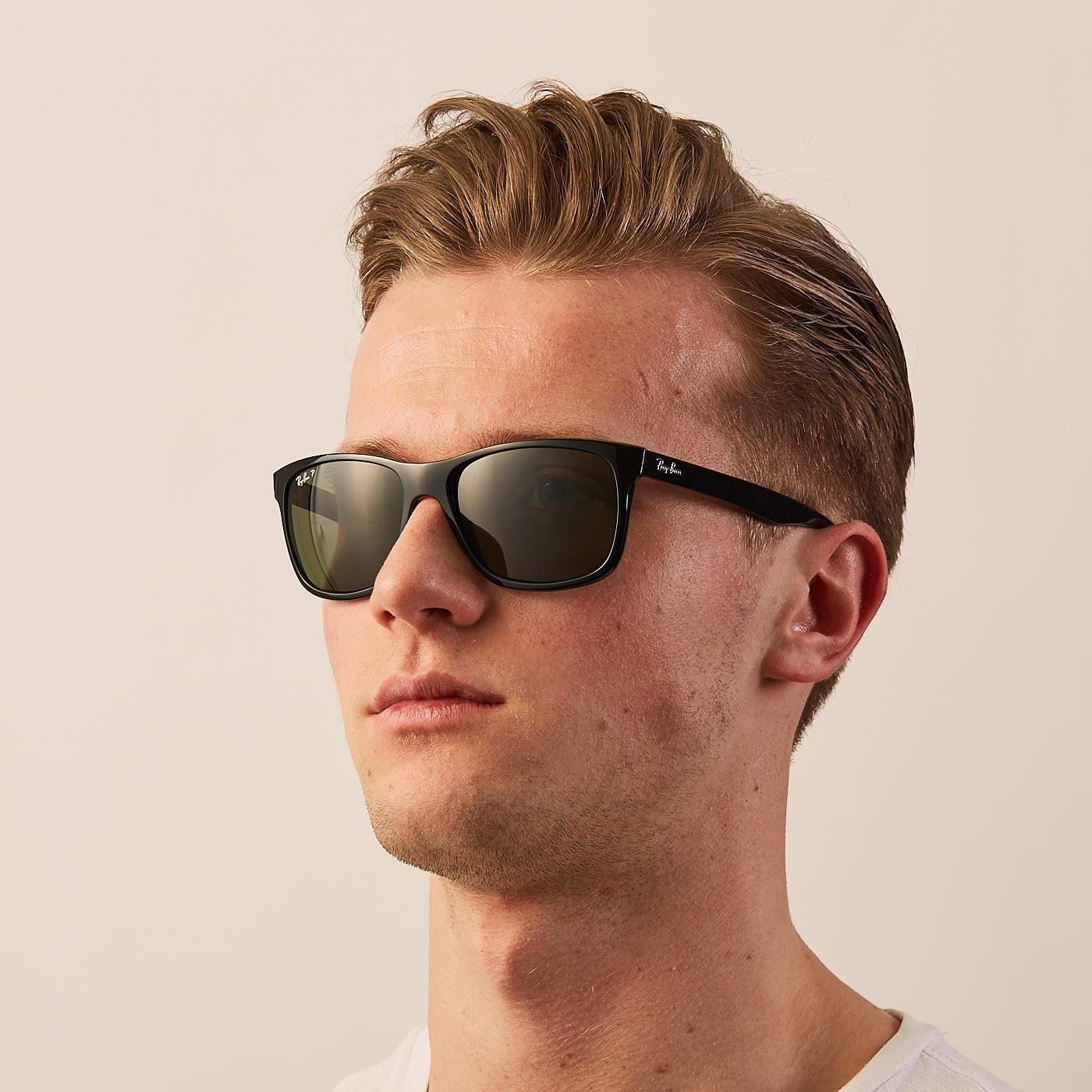 bce4447e23 Ray-Ban Highstreet Shiny Black Polarized Sunglasses RB4181 601/9A -  Sunglasses