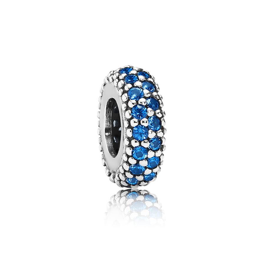 Pandora Zilveren Blue Pave Spacer Bedel Met Kristal 791359NCB