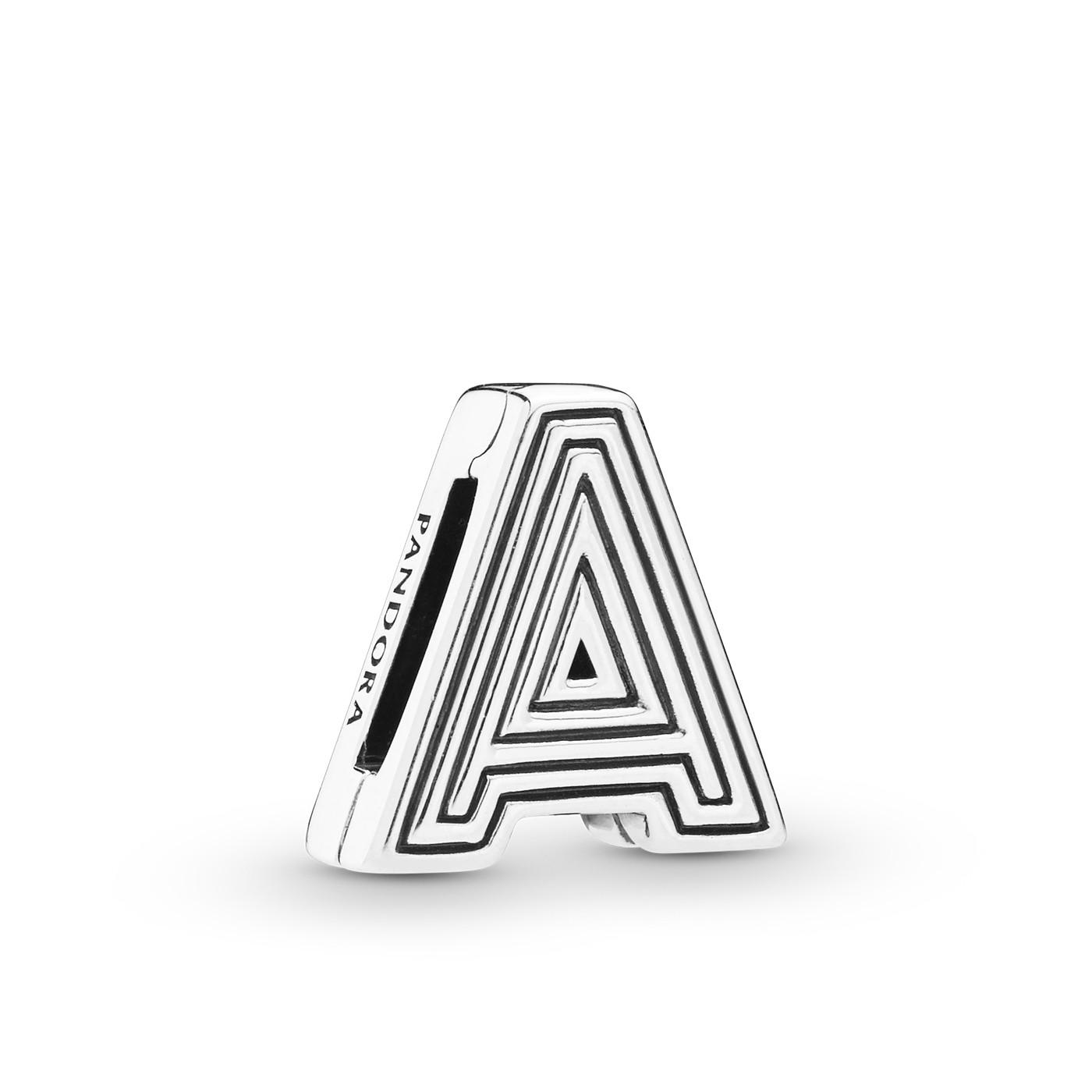 Pandora Reflexions 925 Sterling Zilveren Clip Letter Bedel (Letter: A-T)
