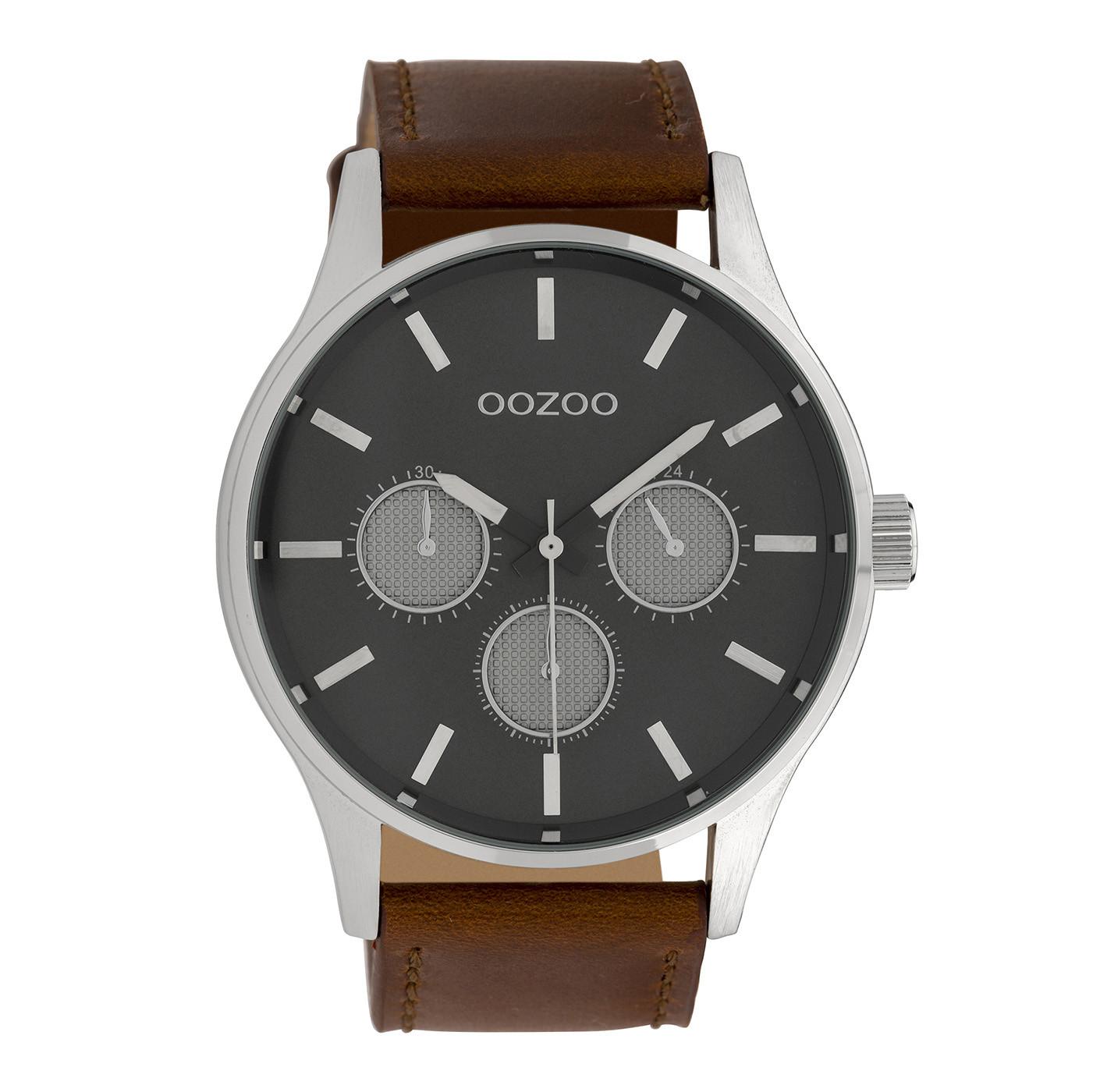 OOZOO Timepieces Cognac/Grijs horloge C10046 (48 mm)