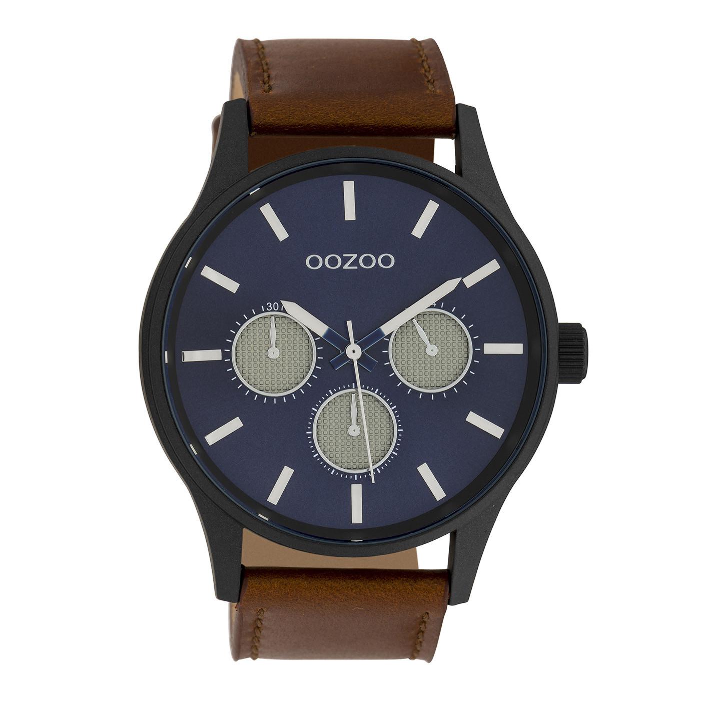 OOZOO Timepieces Cognac/Blauw horloge C10047 (48 mm)