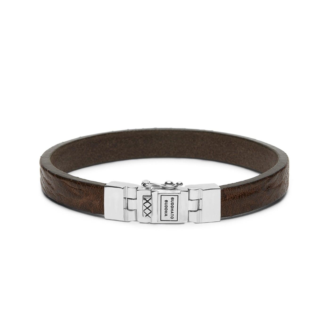 Buddha to Buddha Essential Leather Smooth Brown Armband 186BR (Lengte: 18.00-23.00 cm)
