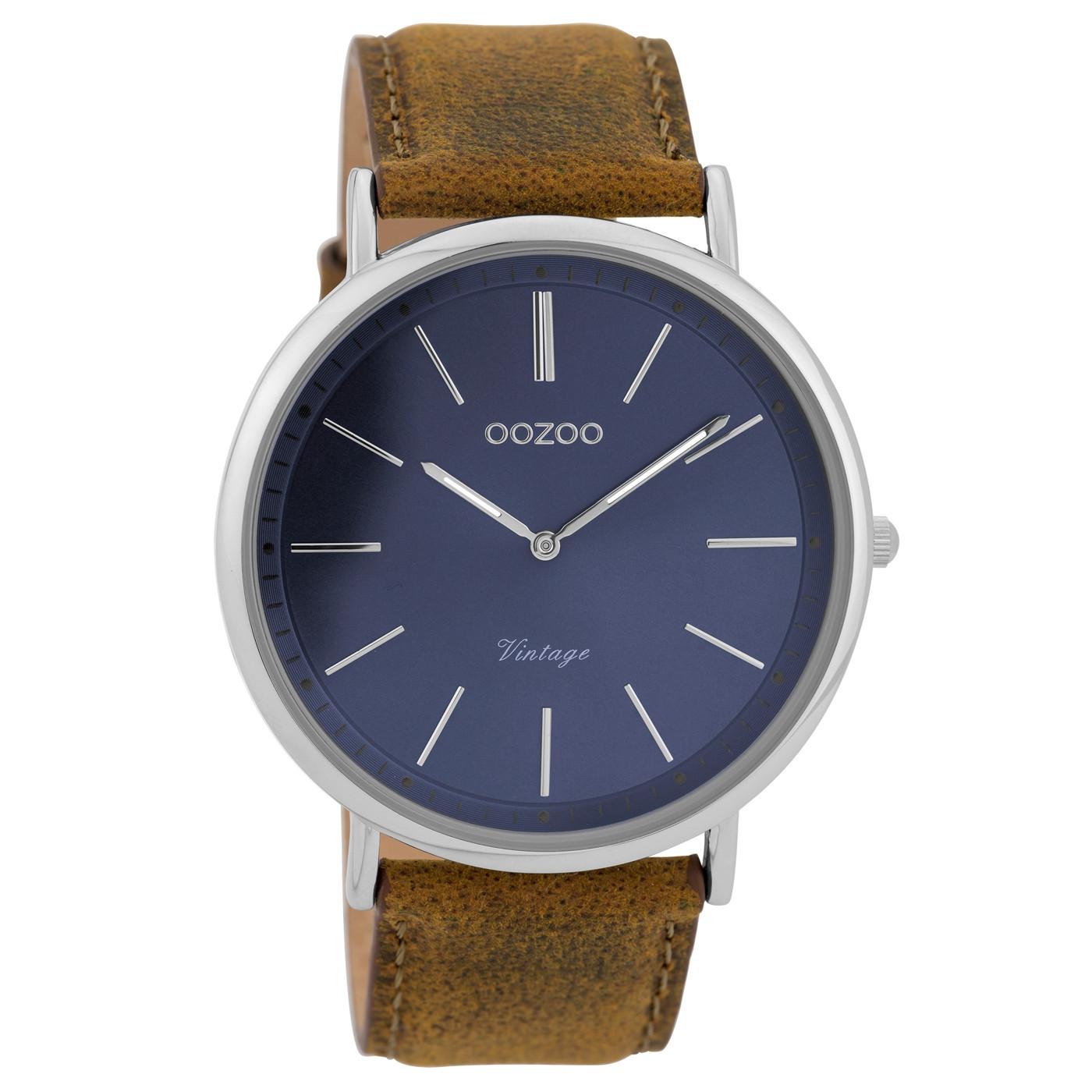 0cb8c99002a OOZOO Vintage Bruin Blauw horloge C9358 (44 mm)