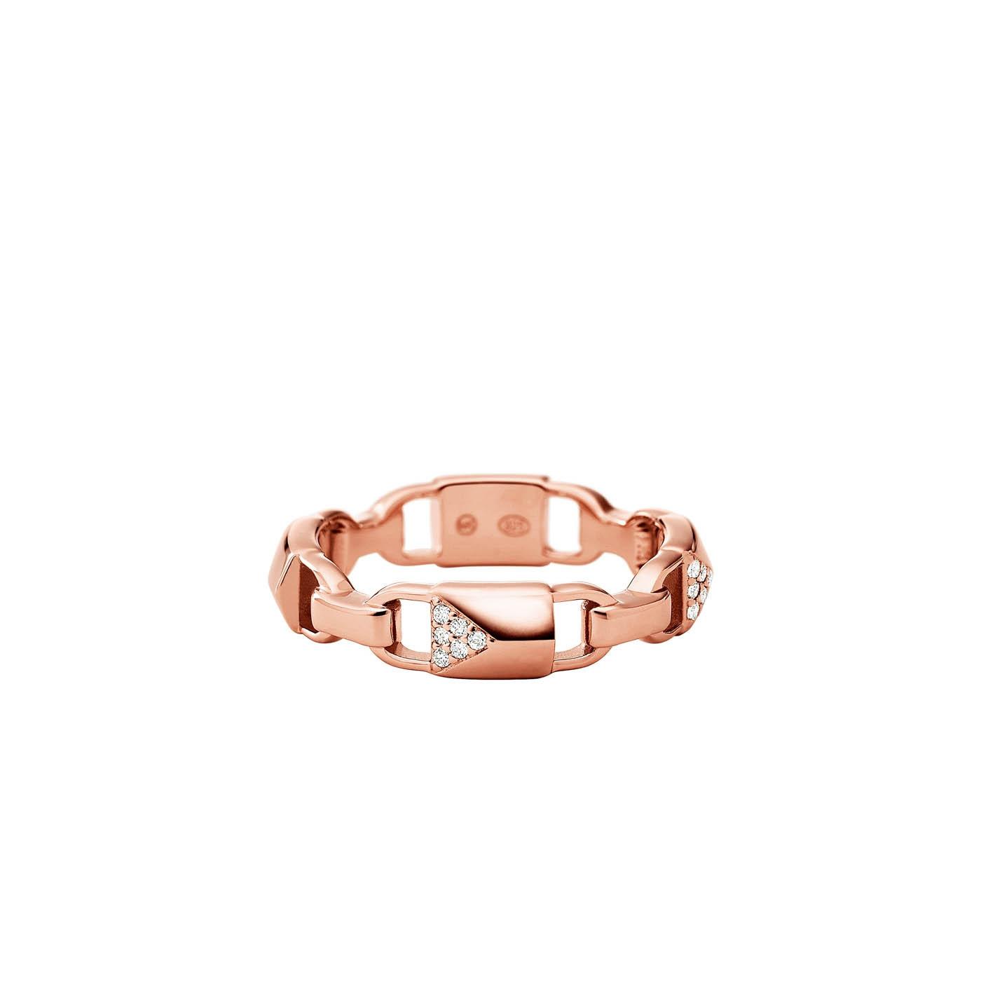 Michael Kors Zilveren Rosegoudkleurige Mercer Link Ring MKC1024AN791