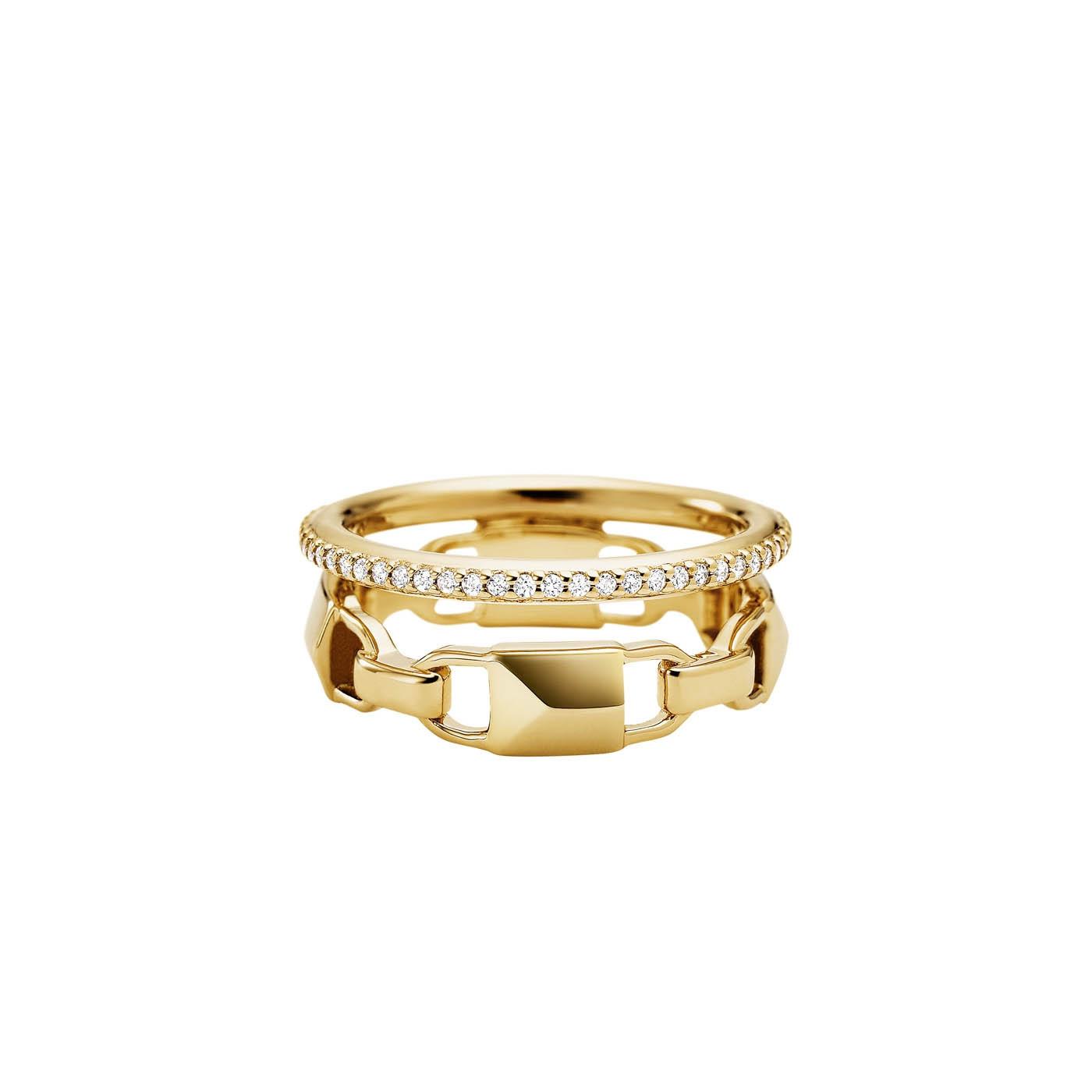 Michael Kors Zilveren Goudkleurige Mercer Link Ring MKC1025AN710