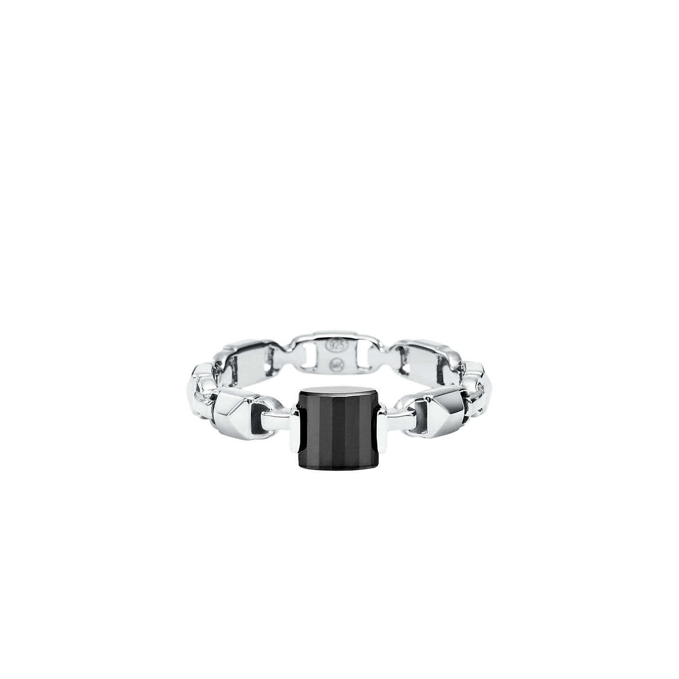 Michael Kors Zilveren/Zwart Mercer Link Ring MKC1026AM040