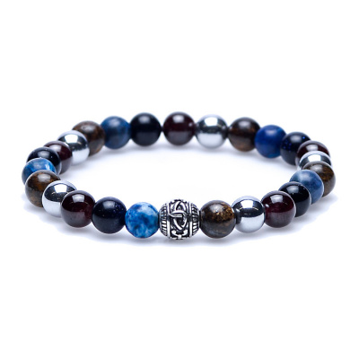 Karma Fear of the Dark silver round logo bead Armband 86259