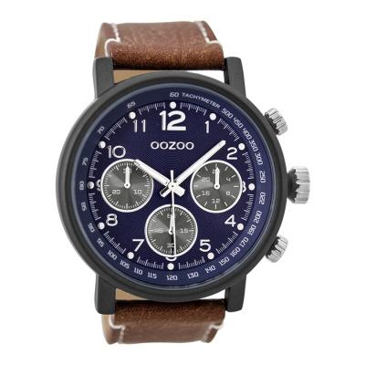 OOZOO Timepieces Cognac/Blauw horloge C9456 (48 mm)