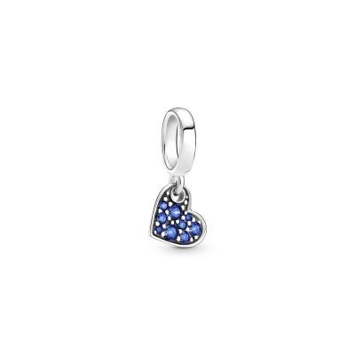 Pandora Colours 925 Sterling Zilveren Stellar Blue Pavé Tilted Heart Hanger 799404C01