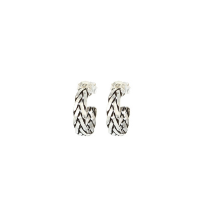 Karma 925 Sterling Silver Symbols XL Braid Hoops Earrings M1100