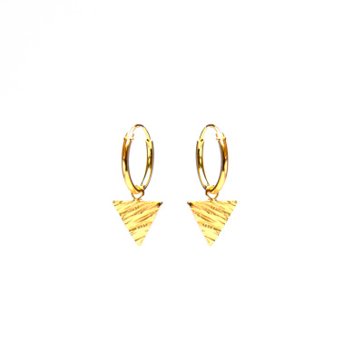 Karma 925 Sterling Silver Hoops Symbols Gold-colored Triangle Woodprint Earrings M2029