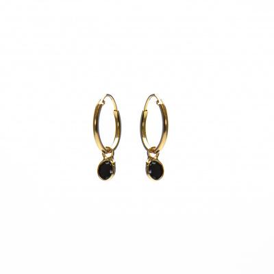 Karma 925 Sterling Zilveren Hoops Symbols Goudkleurige Dots Oorbellen M2170B