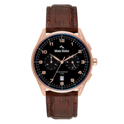 Mats Meier Mont Vélan Chrono Zwart/Bruin horloge MM10001