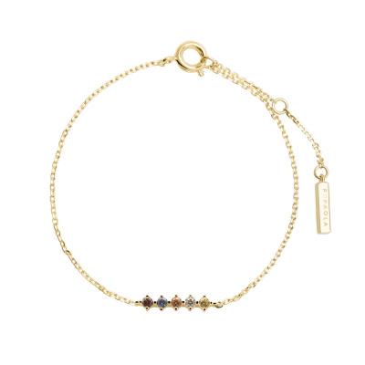 P D Paola 925 Sterling Zilver Goudkleurige Sage Armband PU01-110-U (Lengte: 15.00 - 18.00 cm)