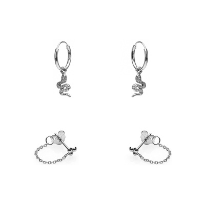 Karma Earparty Silver Snake and Chain Oorbellen