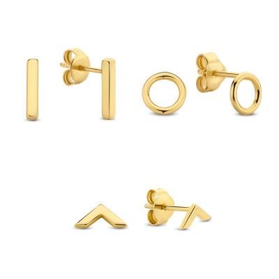 Selected Jewels Selected Gifts 925 sterling zilveren goudkleurige set oorbellen SJSET2100880