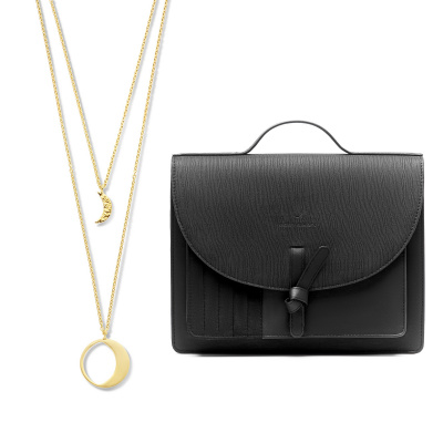 Violet Hamden Luna 925 Sterling Zilveren Luminous Goudkleurige Ketting en Essential Bag Midnight Black Satchel Giftset VH90021