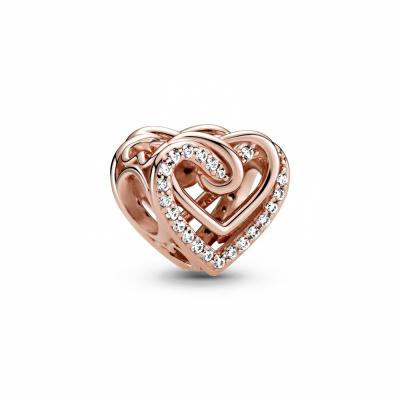 Pandora People 925 Sterling Zilveren Roségoudkleurige Hearts Bedel 789270C01